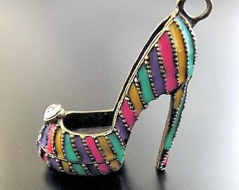 Huge High Heel Shoe Charm Antique  Silver Tone Stilettos 3D - BC944