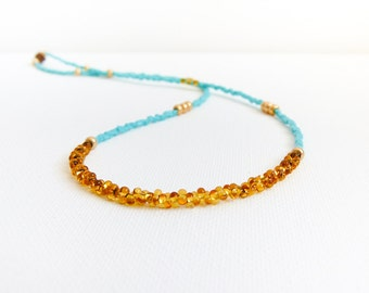 Bohemian Turquoise gold topaz necklace, simple strand  layer necklace, dainty beaded jewelry