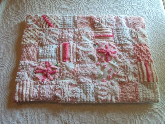 Cute vintage chenille patchwork doll quilt, lovey or pet bed, pink and white