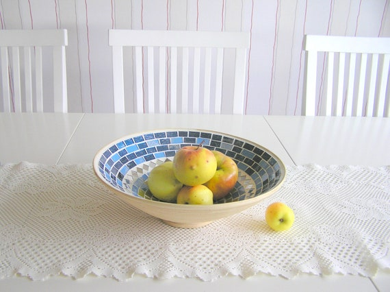 Blue fruit bowl glass mosaic art home decor serving