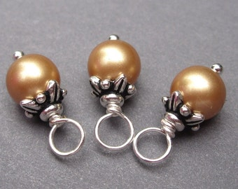 Swarovski Crystal Pearls Vintage Gold Wire Wrapped Dangles Charms with Flower Bead Caps 6mm