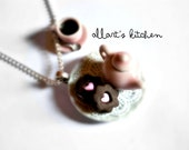 Miniature Tea Set Necklace: Pink Teapot, Coffee Cup and Chocolate Mini Cookies Pendant - Polymer Clay Miniature Food Jewelry