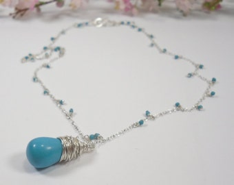 Sky Blue Necklace in Turquoise and 925 Sterling Silver, Sterling Wirewrapped Howlite Pendant and Dainty Embellished Sterling Chain