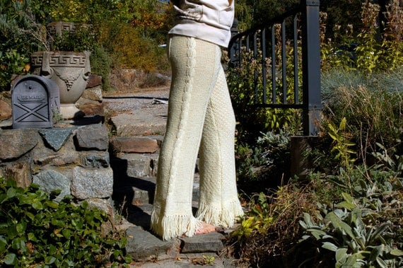 White Cable Knit Crochet Pants L