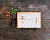 inspirational word decor, thankful, wall hanging, decorative stitchery READY TO SHIP by mamableudesigns on etsy