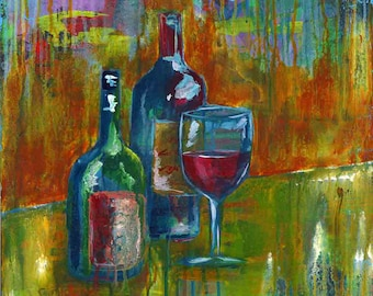 Red Sweet Red print of mixed media acrylic painting