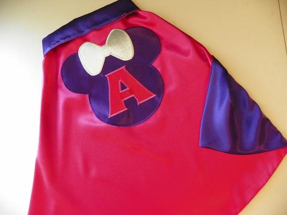 Minnie Mouse SUPERHERO CAPE-personalized- custom monogram many colors-super hero cape princess cape