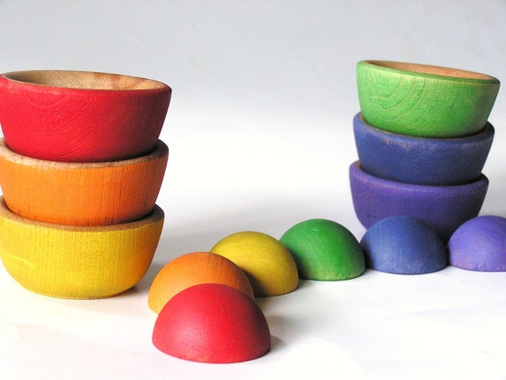 Waldorf- Wood- Toy- MATCH n STACK-  A Educational Rainbow Stacking n Nesting Montessori  Toy