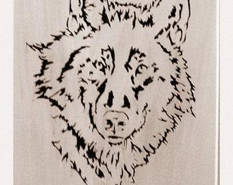 Wolf Portrait In Wood