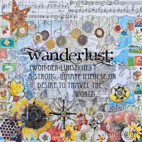 Travel art wanderlust print - 10 x 10 PRINT mixed media