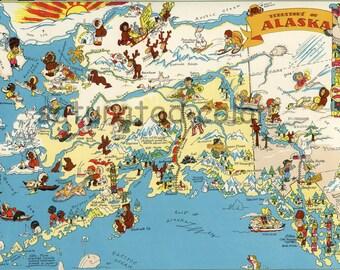 Alaska Map ORIGINAL 9 X 13 Vintage Ruth Taylor White Antique Picture Map of Alaska - Juneau Anchorage Fairbanks Badger Ketchikan Souvenir