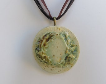 Earthy Rustic Ceramic Pendant Organic Earth Tones Green Abstract Clay Pottery Wearable Art Necklace