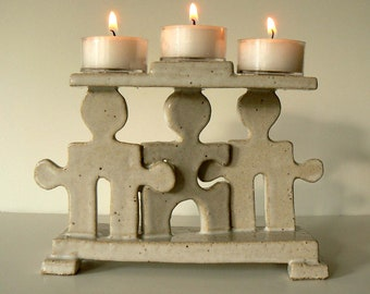 Three Person Votive Christmas Candle Holder Handmade Ceramic Sculpture