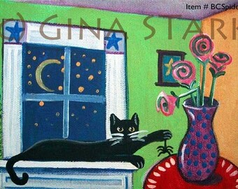 Black Cat with Spider in the House Whimsical Folk Art Magnet