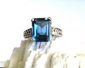 Emerald Cut London Blue Topaz patterned sterling silver band ring custom size 4 5 6 7 8 9 10 handmade fine jewelry