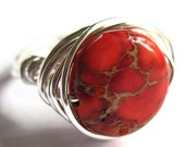 Red Sea Sediment Jasper Ring Wire Wrapped Stone Jewelry