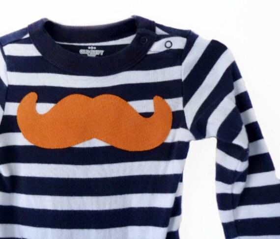 Mustache Tshirt Nautical Stripes Navy Blue Orange Bodysuite Recycled Clothing TrashN2Tees