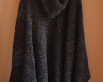 Warm Knitted Poncho/Cape With Hood