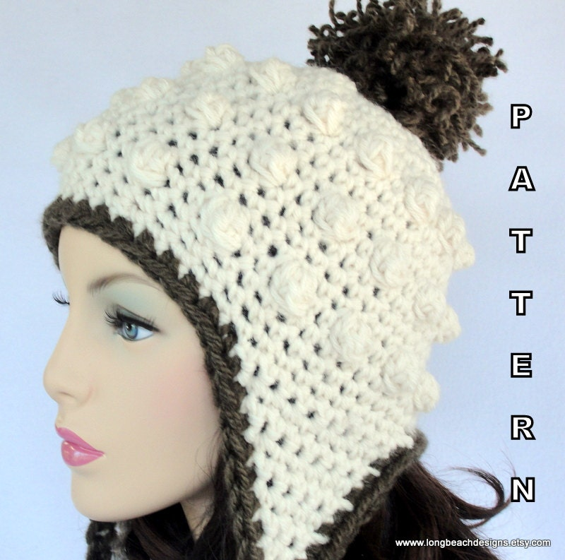 Crochet Hat Patterns Ear Flaps : Crochet Ear Flap Hat PATTERN Sugar Mountain by ...