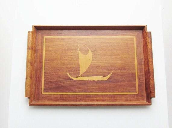 Vintage Hawaiian Art Waikiki Woods Inc Inlaid Narra Wood Tray