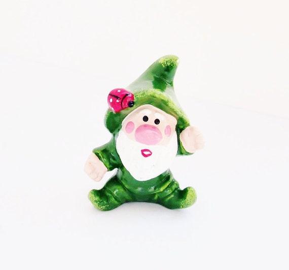 Vintage Green Elf Leprechuan Figurine Napcoware Kitsch Holiday Decor