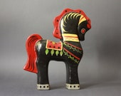 RESERVED FOR fineblackdog Vintage Russian Lacquerware Folk Art Hand Painted Horse