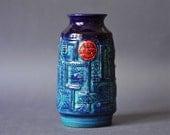 Vintage West German Pottery Cobalt Blue Vase by Bay Keramik