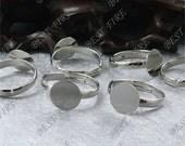 10pcs Platinum Tone Adjustable Open Ring Round Pad 10mm ,Ring Fingdings