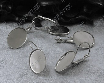 26pcs Platina Tone French Earwires Hook With Oval  13x18mm Pad,Oval Earwires Findings