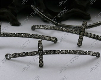 2pcs of 14x49mm Gunmetal tone Rhinestone Cross Connector,Cross Bracelet Connector,bangle findings