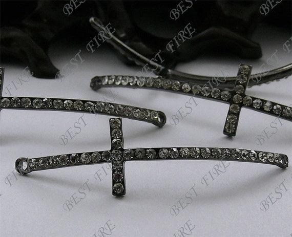 5pcs of 14x49mm Gunmetal tone Rhinestone Cross Connector,Cross Bracelet Connector,bangle findings