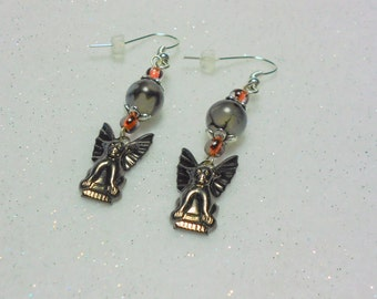 Halloween Earrings Hematite Plated Gargoyle Earrings