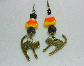 Halloween Earrings Candy Corn Kitty Earrings