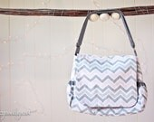 Pink and Gray Chevron Diaper Bag Set