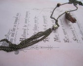 Urban Cowgirl Necklace - Feather, Pyrite, Wood Cube and Chain