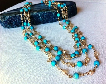 Turquoise long  necklace,14 Kgold filled, Swarovski crystals