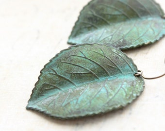 Verdigris Leaf Earrings Jade Green Patina Earrings Dangle Rustic Nature Woodland Jewellery Green Leaf Drop Gift for Women Surgical Steel