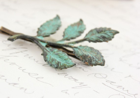 Branch Bobby Pin Verdigris Patina Hair Pin Leaf Hair Accessories Garden Woodland Wedding Rustic Chic Teal Green Brass Leaves Hair Slides