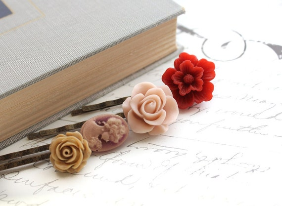 Flower Bobby Pins, Caramel Rose, Dusty Rose Pink, Cranberry Red, Plum Cameo, Vintage Style, Women Hair Accessories, Set of Four (4)