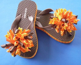 Brown Boutique Flip Flops With Korker Bows in Orange, Brown & Yellow...Youth Size 8/9...Ready to Ship