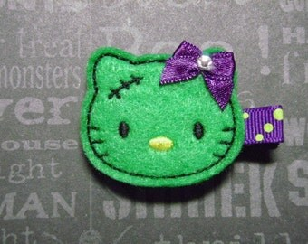 "Halloween Felt Hair Clip ""Franken Kitty""  - For Infant Toddler Girl"