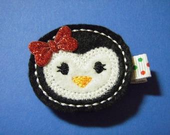 """Christmas Felt Hairbow """"Penny the Penguin""""  Clippie - For Infant Toddler Girl"""