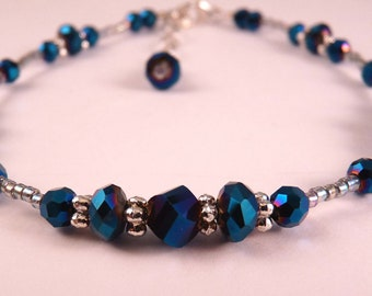 Ankle Bracelet Crystal Anklet Blue Ankle Bracelet Crystal Jewelry Blue Jewelry Beaded Jewelry Beaded Anklet