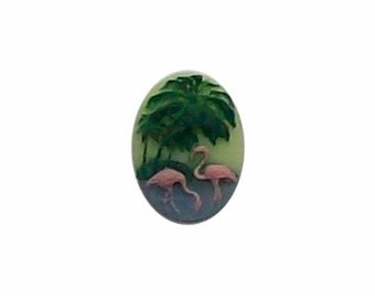 retro 18x13 pink Flamingo cameo Resin cabochon loose unset plastic stone cameo jewelry supply 1950 inspired kitsch 262x