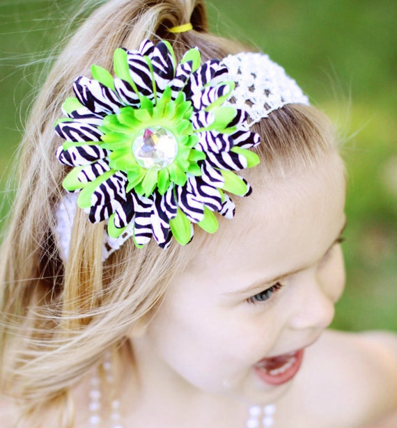 Flower Headband -Green Zebra Daisy Headband - Daisy Headband