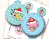 Christmas Party 2.5 inch circles digital collage sheet. Round images for 2.25 inch pocket mirrors. Xmas birds holidays season download