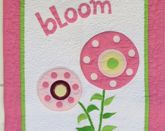 Flower Bloom Quilt or Wallhanging Appliqued Circle Flowers in Pink, Bright Green, Yellow, Plum and White for Baby, Child, Teen or Adult