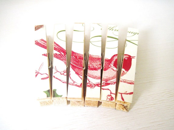 Red Bird Clothespin Magnets, Christmas Magnets Vintage Inspired