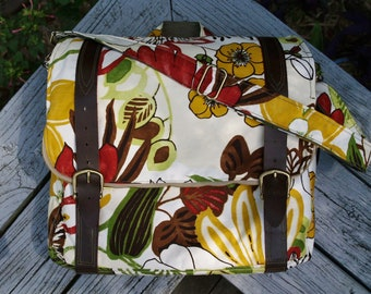 FLORAL BAG 3 way back pack- messenger bag- attache rucksack with leather straps- custom made to order
