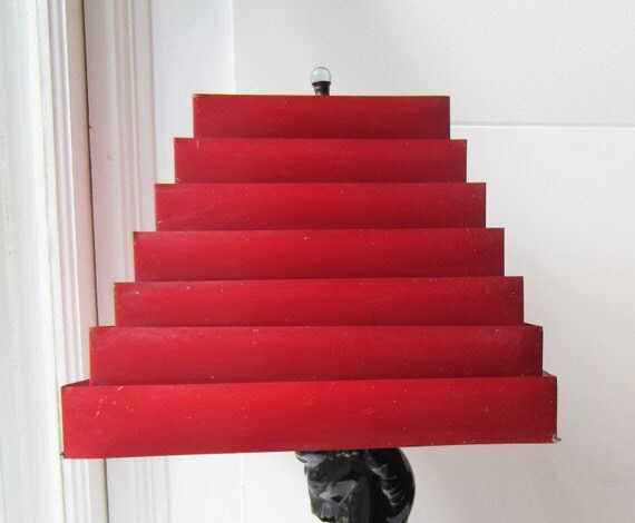 Vintage Red Metal Venetian Lamp Shade with Glass Finial